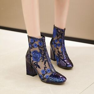 Plus Size Women's Square Toe Ankle Boots Block High HeelS Embroidery Mesh Boots