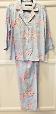 RALPH LAUREN XS Blue Check w/ Flowers Full Leg Pant Pajama Set #LN91780 $70 NWT
