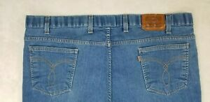 """Levis Men's 8 Belt Loop Small """"e"""" 4 Pocket Blue Denim 44X30 Jeans Boot Cut"""