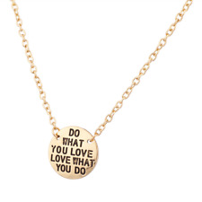 Lux Accessories Do What You Love & Love What You Do Inspiration Pendant Necklace