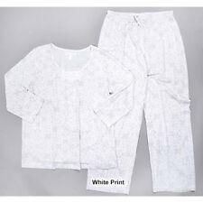 NEW CAROLE HOCHMAN WHITE HEATHER LACE PATTERN PAJAMAS SMALL RETAIL $68.00
