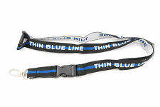 Police Officer Thin Blue Line Embroidered Detachable Lanyard Key Chain