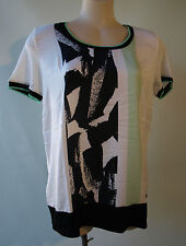 New Bandolera top black white green print designer size 12/38 short sleeves NWT