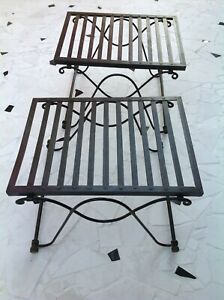 VINTAGE 1990s PIER 1 IMPORTS WROUGHT IRON COLLAPSIBLE FOLDING TABLE (SET OF 2)