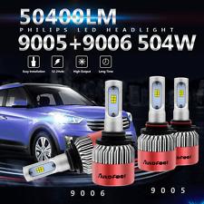 9005 9006 4PCS LED Total 504W 50400LM Combo Headlight High 6500K White Kit Bulbs