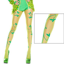 Sheer Green Poison Ivy Leaf Vine Design Pantyhose Tights Retro Pinup Fashion OS