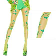Sheer Green Poison Ivy Leaf Vine Design Pantyhose Tights Retro Pinup Fashion OS