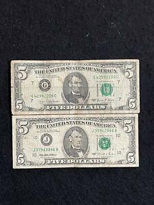 2 BANCONOTE AMERICANE DA CINQUE DOLLARI DEL 1995