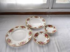4 Pc Royal Albert Bone China 1962 Old Country Roses Plates Saucer England