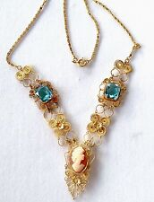 VINTAGE GOLD TONE FAUX AQUAMARINE & CARVED SHELL CAMEO PENDANT NECKLACE