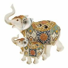 Pearly White Patchwork Design Mother and Baby Elephant Ornament JD66025