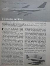 10/1974 ARTICLE 4 PAGES AIRLINE PROFILE SIA SINGAPORE AIRLINES BOEING 747-200