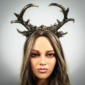 Gold Deer Antlers with Flowers Headband Cosplay Horns Headdress Halloween Costum