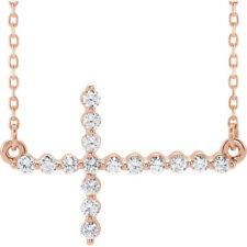 "Diamond Sideways Cross 18"" Necklace In 14K Rose Gold (1/3 ct. tw"