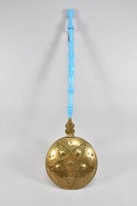 h18b80- Alter Bettwärmer aus Kupfer u. Messing, mit Holzstil