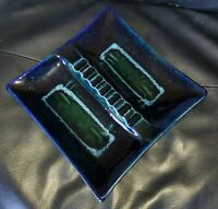 """Gorgeous Glazed Square Ashtray Made in USA Blue green brn Mid Century Modern 10"""""""