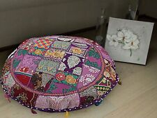 "18"" Patchwork Round Floor Decorative Pillow Cushion Cover Cotton Handmade Indian"