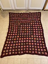 Vintage Handmade Crotchet Granny Square Afghan Blanket 44 by 56 multicolor