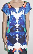 FATE Designer Multi Colour Silky V Back Day Dress Size M BNWT #SH111