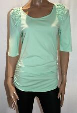 Every Woman Brand Spearmint Ruched Sides Short Sleeve Top Size L BNWT #TN63