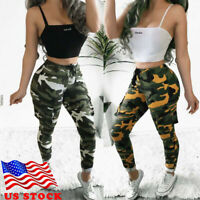 US STOCK Womens Camo Cargo Trousers Pants Military Army Combat Camouflage Jeans