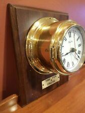 Vintage Messling Nautical Ship Pothole Brass Wall Clock Boat Wooden Germany