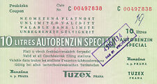 Tschechoslowakei, Benzincoupon o.D., 10 L Autobenzin special, f.ksfr.