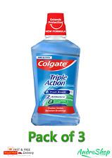 3 x Colgate Triple Action 24/7 Plaque Protect 500ml NEW