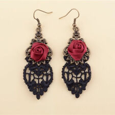 Handmade Lolita Red Flower Rose Black Drop Lace Dangle Gothic Alloy Earrings NEW