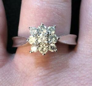 Sterling Silver Diamond Ring Lab Grown? JTV Sz 8 3.9g Platinum Pltd 925 #1361
