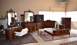 Rare Antique 7 piece Flame Mahogany Bedroom Set