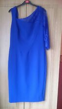 V By Very Cobalt Blue One-Shoulder Lace Pencil/Fitted Party/Wedding Dress Size U