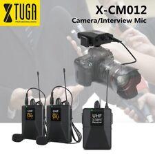 XTUGA X-CM012 UHF Dual Wireless Lavalier Microphone,Camera Mic,UHF Lapel Mic