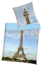 Bettwäsche Paris - Eiffelturm - 155 x 220 cm + 80 x 80 cm - Renforcé - Übergröße