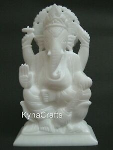 Gajanana Statue with Hand Carved Work Marble Ganpati Perfect for Wedding Gifts