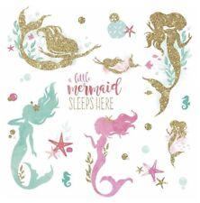 MERMAID BiG Wall Decals Gold Glitter Pink Green Room Decor Stickers Ocean Shells