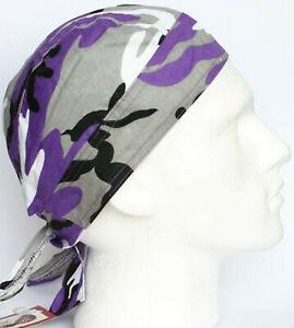 Mens Fitted Bandana Zandana Headscarf Wrap Easy Tie Black Grey Purple Camouflage