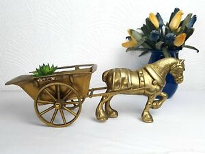 Large Brass Horse and Cart 46cm