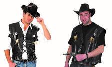 Gilet da cowboy sceriffo in simil pelle nera