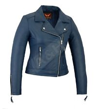 Women Genuine Cowhide Motorcycle Casual Soft Light Weight Leather Jacket Blue