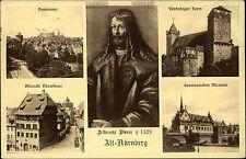 Nürnberg alte Mehrbildkarte 1928 fünfeckiger Turm Germanisches Museum Panorama