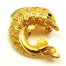 Vintage Brooch Pin Dolphin Figural Fish Gold Tone Jewelry