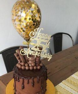 GOLD BALLOON CONFETTI CAKE TOPPER WEDDING PARTY BIRTHDAY BRIDAL HEN BABY