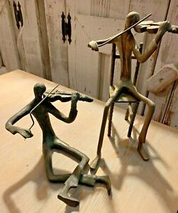 Vintage Metal Brass Violinist Figurine Statue sitting on ground