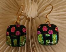 """HANDMADE DICHROIC + ART GLASS EARRINGS: """" LETS GET THE PARTY STARTED !!"""""""