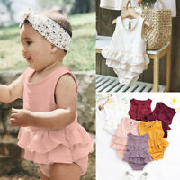 Newborn Toddler Baby Girl Sleeveless Solid Romper Bodysuit Clothes Dress Outfits