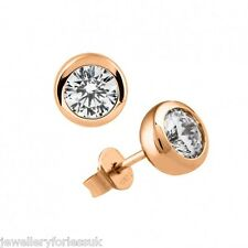 18Carat Rose Gold Diamond Solitaire Round Rubover/Bezel Ear Studs 0.40cts H VS