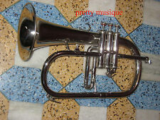 FLUGEL HORN GERMAN WINGED SILVER CHROME W/FREE CASE BOX & MOUTHPC+FREE SHIPPING