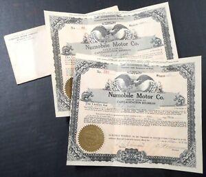 1921 Stock Certificates for NUMOBILE MOTOR COMPANY East St Louis Ilinois