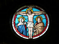 "Jesus Christ on Cross Stained Glass Church Window - 17"" x 22"" Art Print - 00031"
